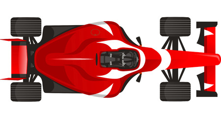 motorized: Sports F1 Racing car, with red vector illustration.