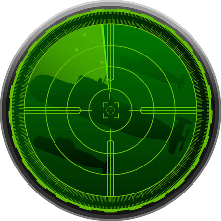 digitally enhanced or generated: Radar screen combat submarine vector illustration. Illustration