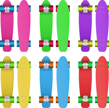 Skates set, with Pink skate, green skate, violet skate, yellow skate, blue skate and red skate vector illustration.