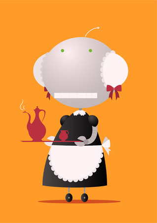 the maid: Robot maid carring teapot. Illustration