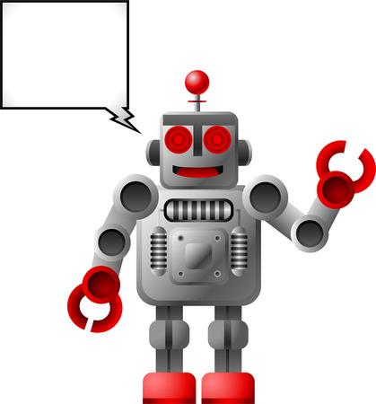 talking robot: Robot hablando sonriendo Vectores