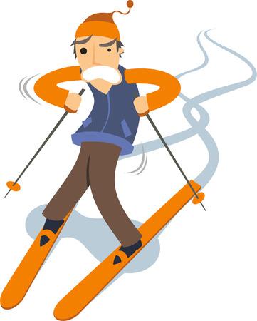 Rookie Newby Man Skiing Mountain Winter Snow Ski, with wool hat vector illustration cartoon. Vector
