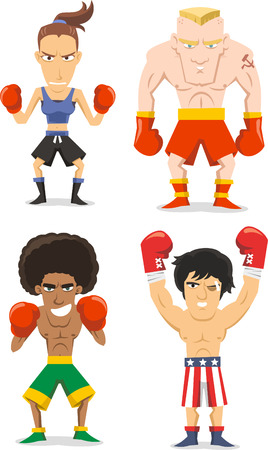 woman side view: Boxer cartoon illustrations