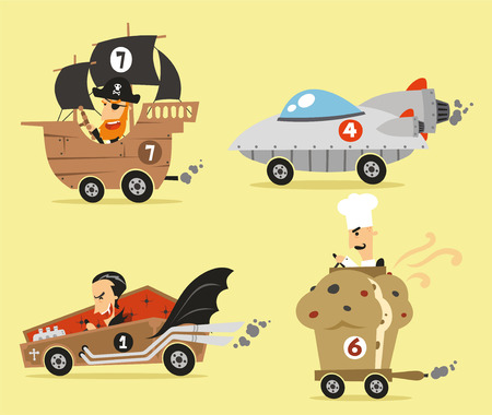 Crazy cartoon cars 일러스트