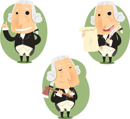 american history: George Washington President Set, vector illustration cartoon. Illustration