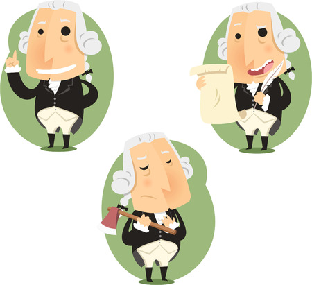 george washington: George Washington Presidente Set, ilustración vectorial de dibujos animados.