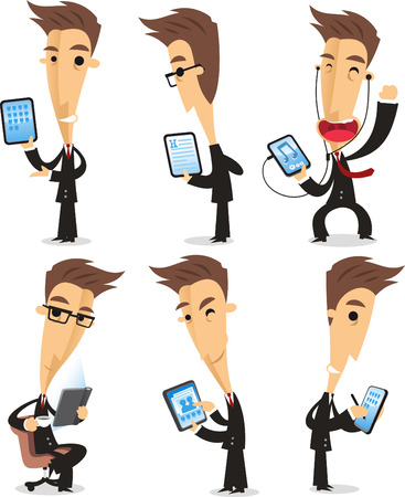 mobil: businessman using tablet cartoon action set Illustration