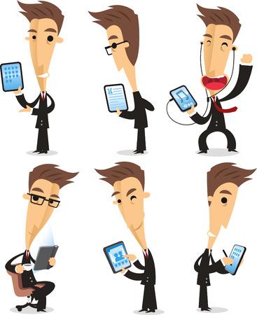 using tablet: businessman using tablet cartoon action set Illustration