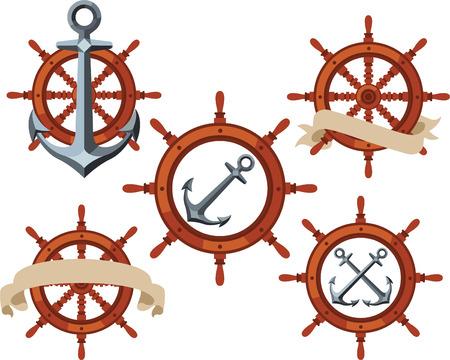 rack wheel: Ship rudder wheel emblems