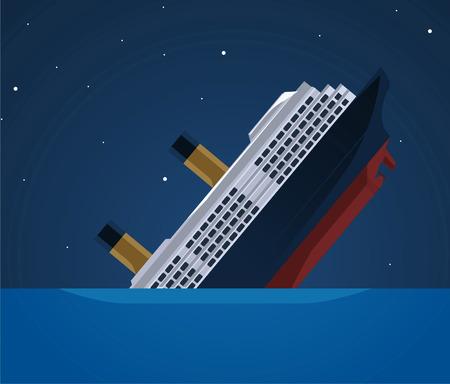 Sinking ship illustration  イラスト・ベクター素材
