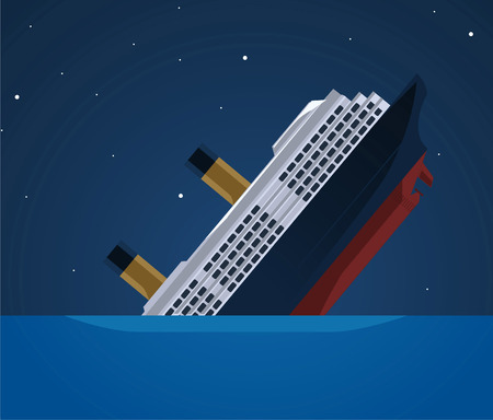 Sinking ship illustration Vectores