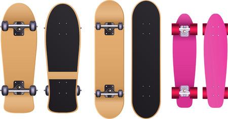 Old school Skateboard skate set, with cruiser board, longboard, trucks, urethane wheels, bolts, grip tape, skateboard deck, maple deck, maple deck board