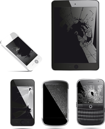 Cracked mobile phone, smartphone and tablet
