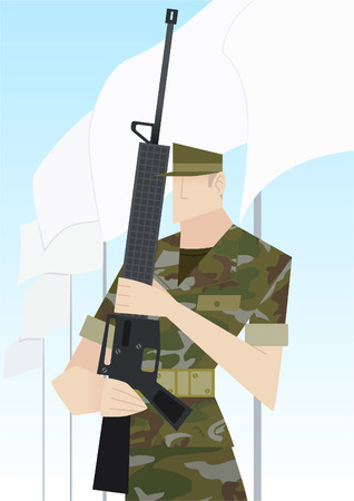 us air force: Soldier with rifle vector cartoon