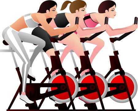 muscular build: Young women in a spinning class