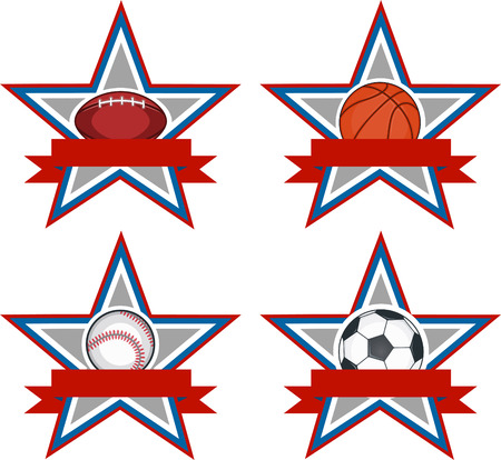 Sport balls in stars emblems illustrations Illustration
