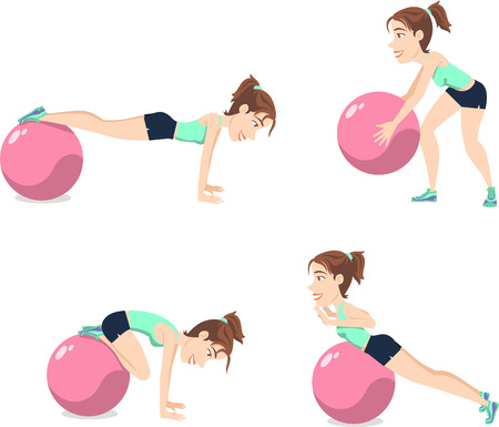 relaxation exercise: Stability Ball Exercise Weight Training Swiss Balance Fitness Gym, vector illustration cartoon.