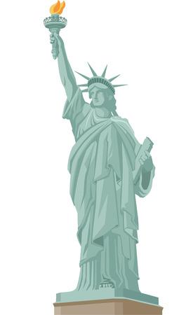 동상: 자유 동상 서 뉴욕의 자유의 여신상이 횃불을 들고 불타는. 벡터 일러스트 레이 션 만화. 일러스트