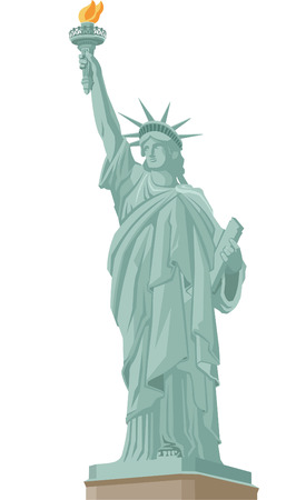 Statue of Liberty in New York, with Liberty Statue Standing holding flaming torch. Vector Illustration Cartoon.