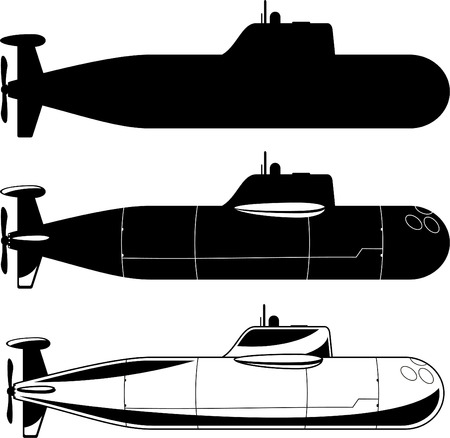Submarine War Icons vector illustration. Çizim