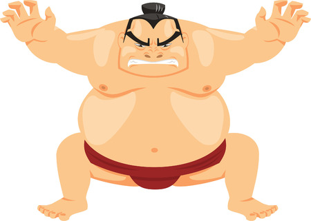 Sumo Wrestler Japanese Martial Art, vector illustration cartoon. Vector