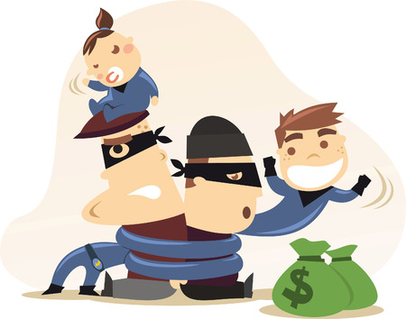 superboy: Superhero kids with mission accomplished, with tied together burglars, capturing thieves. With blue hero costumes, one boy children and one baby girl hero sitting on burglars head vector illustration.