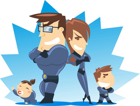 security staff: Successful Superhero family posing for their fans, with blue costumes vector illustrations. Illustration