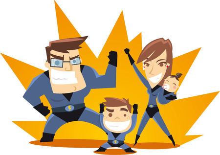 family clip art: Superhero Family team ready to work vector illustration.