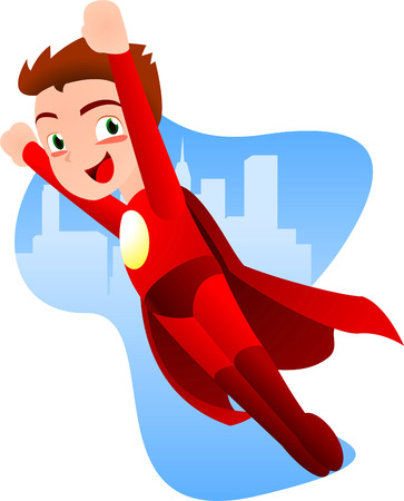 Superhero boy flying ready to work with a light blue city background vector illustration. With red costume and red cape, smiling hero.