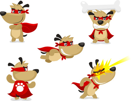 Superhero dog vector illustration, with Superhero paw, Superhero Strength, invulnerability, flight, x ray vision, heat vision, superhero vision, superhero olfaction and master combatant super hero dog.