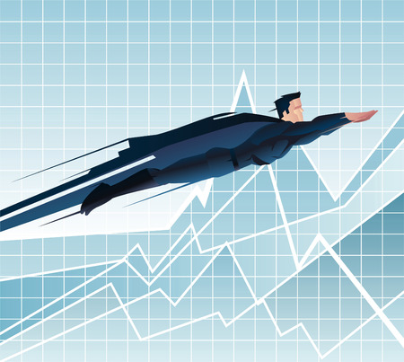 flying man: Superhero Businessman flying ready to work over chart, with blue business suit and blue cape vector illustration. Illustration