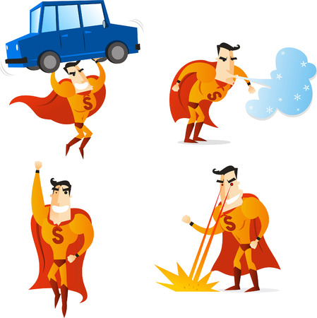 Superhero using four different powers in four different situations, lifting a car, flying, making wind and setting fire, with orange suit and cape, vector illustration. Stock Illustratie