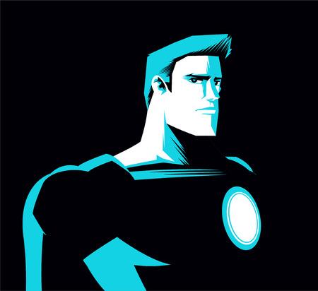 back lit: Super h�roe en la noche con la luz azul sombra Ilustraci�n vectorial.