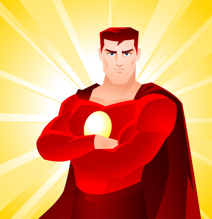 American Shining Superhero Standing Proud, with red suit and cape vector illustration.