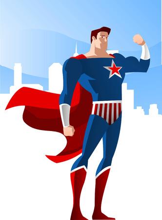 アメリカ スーパー ヒーローに立って都市との栄光の輝きベクトル イラスト、赤い星と赤と青のコスチューム。  イラスト・ベクター素材