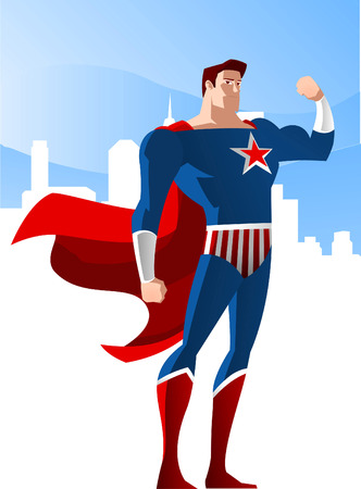 enlisting: USA Superhero standing glorious with the city shine vector illustration, with red star and red and blue costume.