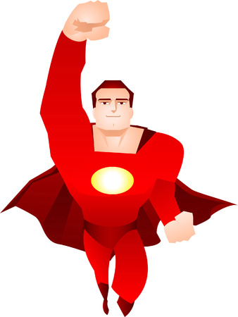 crime fighter: Superhero flying up to the rescue, can be used with my other superhero files. Superhero dressed with red suit and flying with red cape vector illustration.