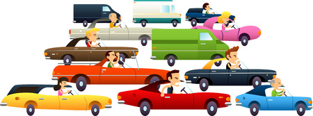 Traffic jam with cartoon cars and really angry and annoyed characters. Vector Illustration Cartoon.