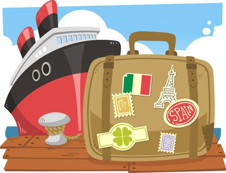 Travel luggage at the port cartoon illustration