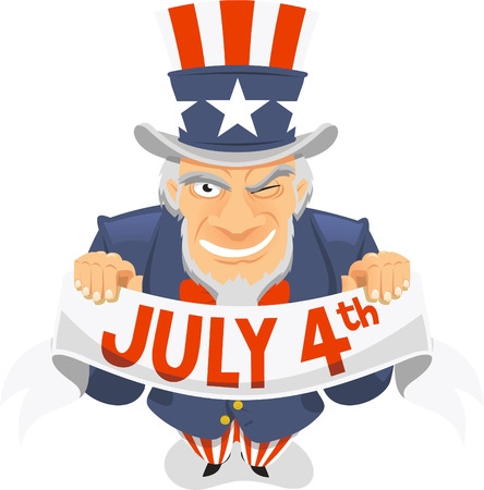 american revolution: Uncle Sam Fourth of July Banner Vector illustration.
