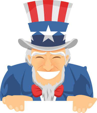 Uncle Sam Happily Smiling with american flagged top hat and blue suit with red ribbon vector illustration. Illustration