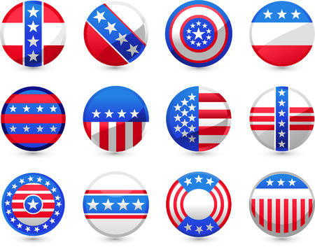 Twelve different USA Buttons in different American motives vector illustration, in red and blue, with white stars and American flag. Vector