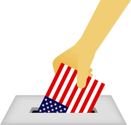 secrecy of voting: American Vote Ballot Box with human hand with american flag vector illustration.