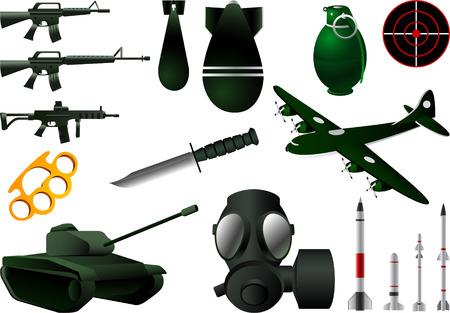 army gas mask: icono b�lico ambientado ilustraciones vectoriales Vectores