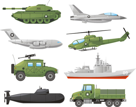 military invasion: War Vehicles Color Set vector illustration. Illustration