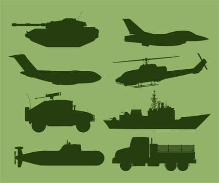 War Military Vehicles Vector Illustration.