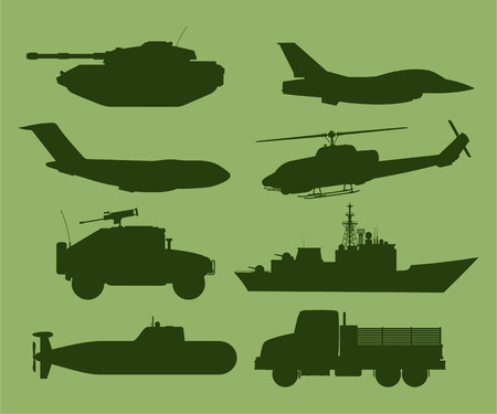 cold war: War Military Vehicles Vector Illustration.