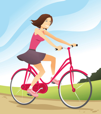 rural scene: woman riding bicycle