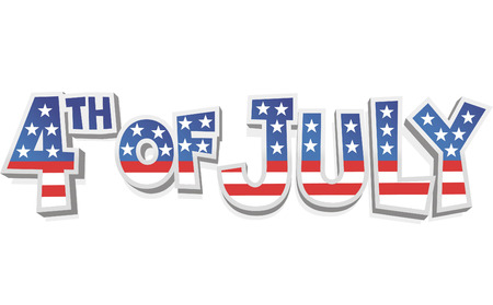 4th of july cartoon sign Vector