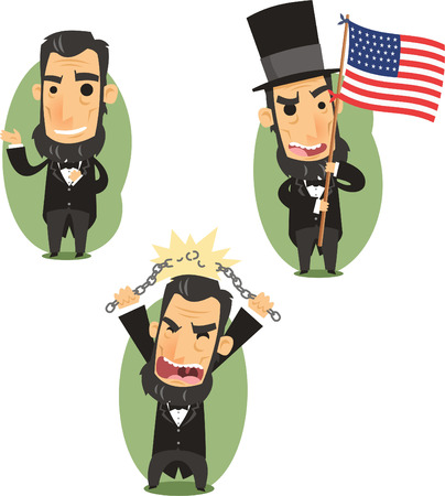 historic world event: Abraham Lincoln Government Abolitionist Freedom President of the united states of america, vector illustration cartoon. Illustration